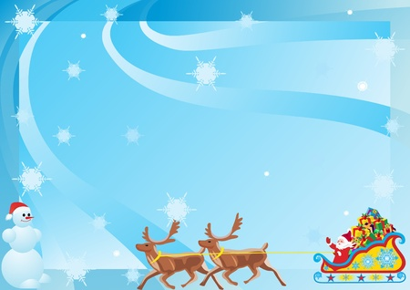 Santa Claus on New Years gifts as a reindeer on abstract blue background with snowflakes falling. Vector