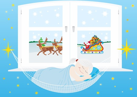 Sleep baby in a hammock on the background of the window, followed by Santa Claus to reindeer luck New Year's gifts. Stock Vector - 11052170