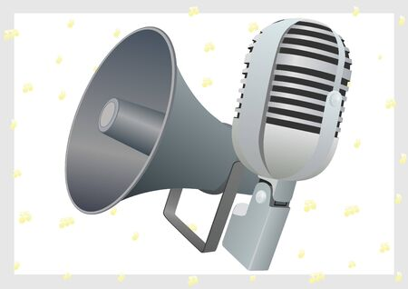 loudspeaker: The old radio microphone and loudspeaker. The illustration on a white background.