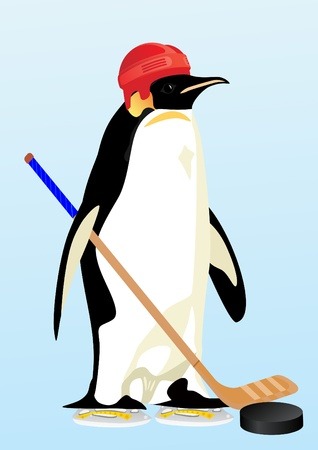 Penguin in a hockey helmet and stick, for playing hockey Stock Vector - 11052168