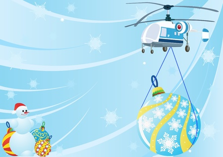 A helicopter with Christmas toys and Christmas decorations snowman near the abstract blue background with snowflakes falling. Stock Vector - 11052179