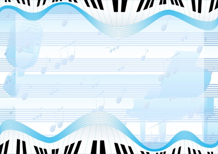 The old radio microphone and a piano in the background of musical notes and piano keys abstract images Vector