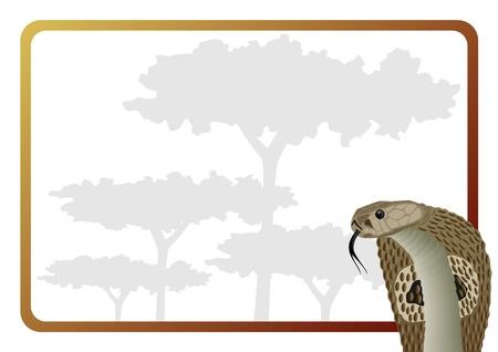 venomous snake: Serpiente venenosa en el marco de fondo de �rboles Vectores