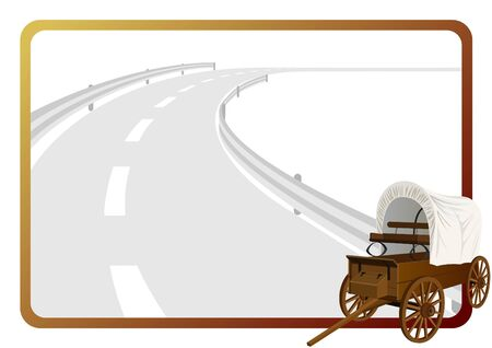 An old covered wagon in the background of a frame with an asphalt road