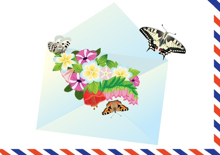 Flying butterflies against the background of open e-mail envelope with flowers Vector