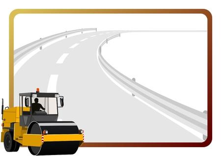 고속도로: 아스팔트 도로와 프레임의 배경에있는 도로 건설 장비.