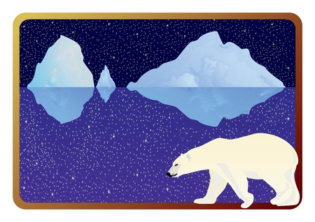 polar bear on the ice: The inhabitants of the Arctic into the background frame to the ocean, icebergs and the night sky.