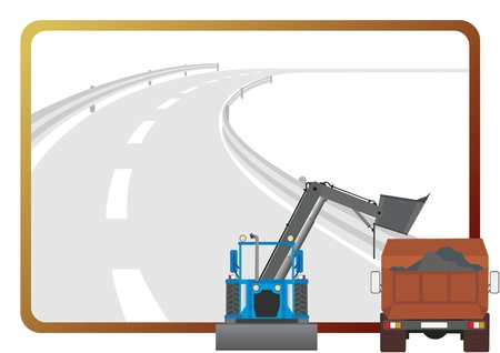 Road construction machinery in the background of a frame with an asphalt road. Vector