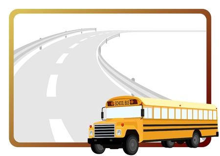 transport scolaire: Autobus scolaire sur le fond d'un cadre avec une route goudronn�e