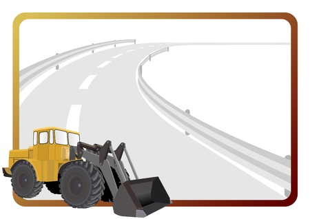 Road construction machinery in the background of a frame with an asphalt road. Stock Vector - 11101092