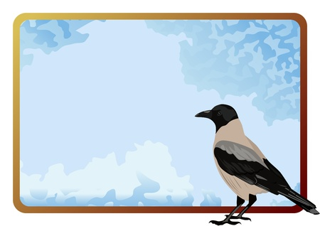 Bird on a background frame of the sky with clouds Vector
