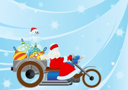 Santa on a motorcycle driven by Christmas decorations Vector