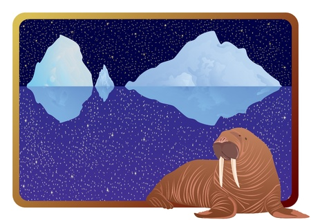 inhabitants: Gli abitanti della regione artica nel telaio da sfondo al mare, iceberg e il cielo notturno Vettoriali