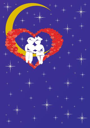 An abstract image of a couple in love sitting on the moon in the starry sky Vector