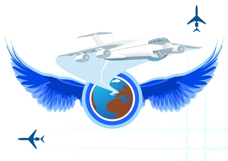 taking off: Avi�n de pasajeros despegando en el fondo del icono con las alas extendidas.
