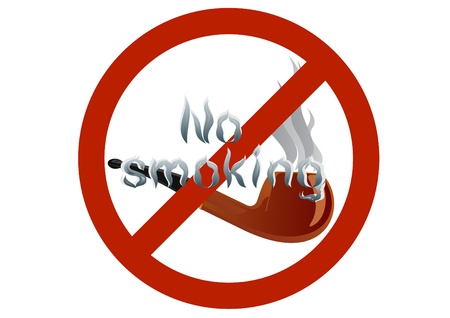 banning: Smoking Pipes and the words no smoking sign on the banning. Illustration