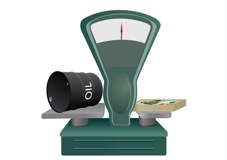 Trade balance with a barrel of oil and a bundle of banknotes. An abstract image of the cost of the goods Vector