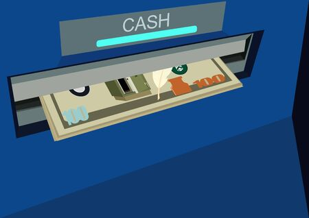 obtaining: Banknotes issued ATM. Obtaining cash through ATMs Stock Photo