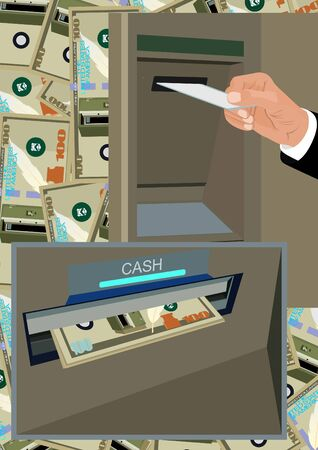 Activation of a credit card and bank notes issued by the ATM. Obtaining cash through ATMs. Stock Photo