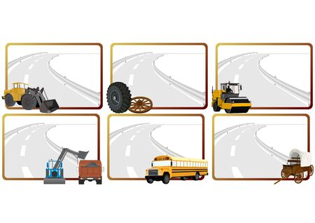 excavate: Modern and vintage vehicles, road construction machinery in the background of a frame with an asphalt road