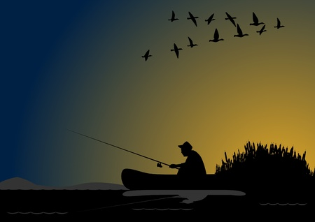 yellow boats: A fisherman with a fishing rod in the boat Illustration