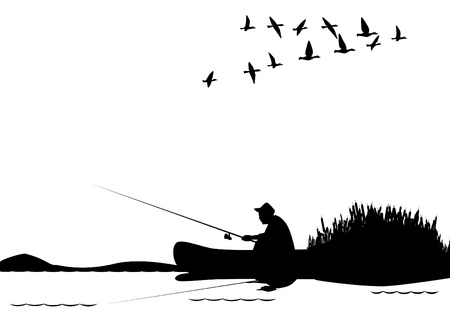 fishing boat: 보트에서 낚시 막대와 어부. 흰색 배경에 그림 일러스트