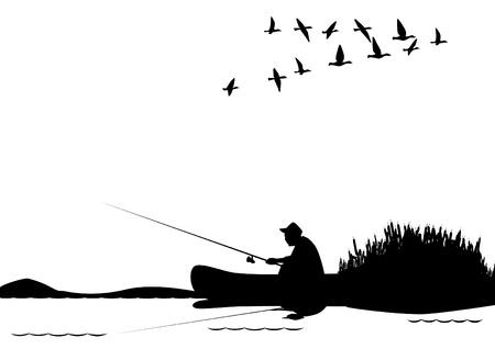 zwerm vogels: Een visser met een hengel in de boot. De illustratie op een witte achtergrond