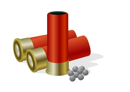 Hunting cartridges and charge fraction. The illustration on a white background. Иллюстрация
