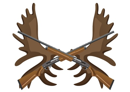 Hunting rifles against the horns of an elk Vector