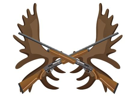 fusil de chasse: Les fusils de chasse contre les cornes d'un wapiti Illustration