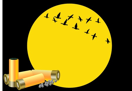 Hunting cartridges and charge fractions on the background of the moon and a flying flock of ducks