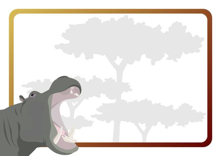 behemoth: Animal against the frame with the trees Illustration