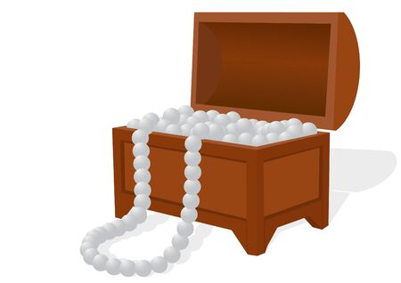 An open casket. In the box is pearls and pearl necklace Vector