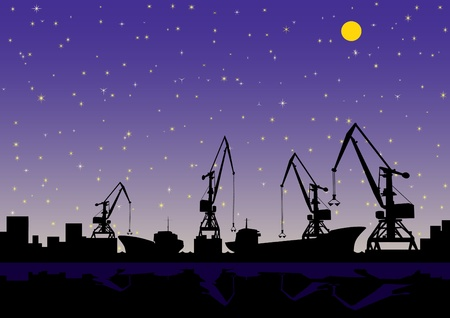 Night landscape. In the port of loading and unloading cargo ships. Vector