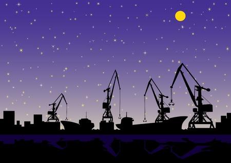 buonanotte: Paesaggio notturno. Nel porto di carico e scarico navi da carico.