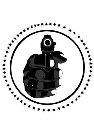 firearms: Hand with a pistol against the sniper scope. Black and white illustration on white background
