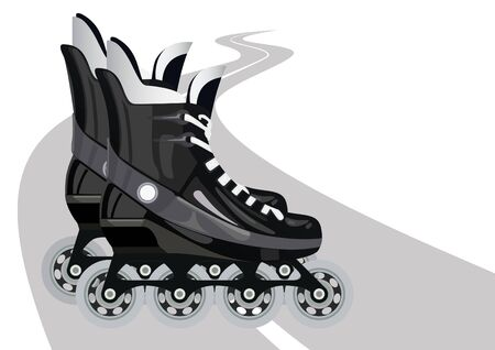 Roller skates against the background of the road. The illustration on a white background. Stock Vector - 11420371