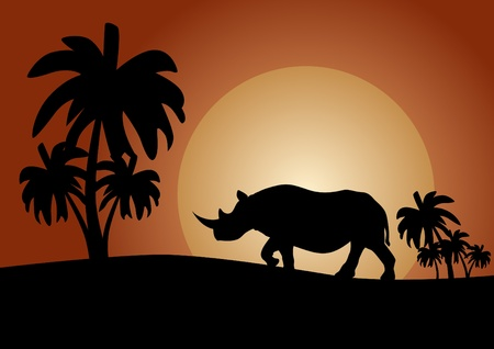 Rhino at sunset in the savannah Vector