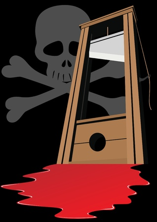 guillotine: Guillotine with a raised knife. Tool to perform executions. The illustration on a black background. Illustration