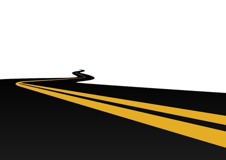 meandering: Highway with a dividing strip. The illustration on a white background.