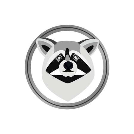 Round head badge with a raccoon. The illustration on a white background Vector