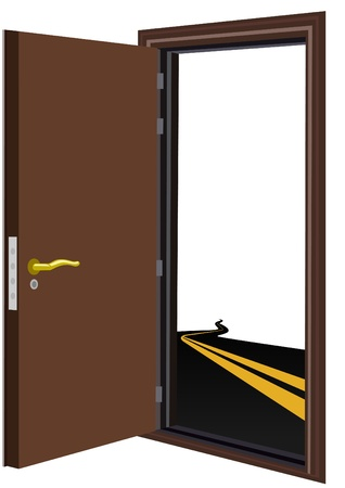 Open the door and highway with a dividing strip. The illustration on a white background. Illustration
