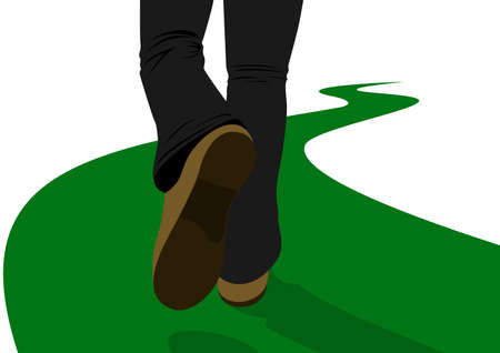 the sole of the shoe: A man walking along a road receding into the distance. The illustration on a white background.
