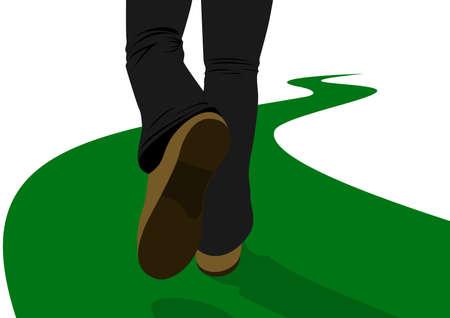 szlak: Mężczyzna idąc wzdłuż drogi oddala się na odległość. Ilustracja na białym tle.