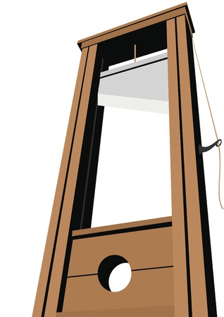 guillotine: Guillotine with a raised knife. Tool to perform executions. The illustration on a white background. Illustration