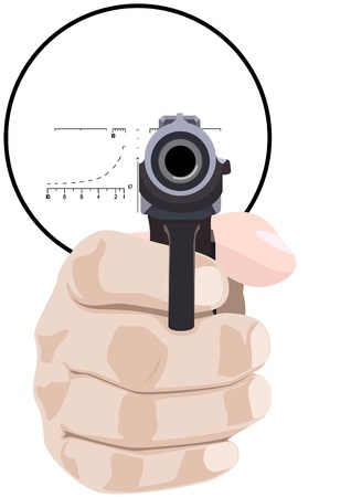 Hand with a pistol against the sniper scope. The illustration on a white background.