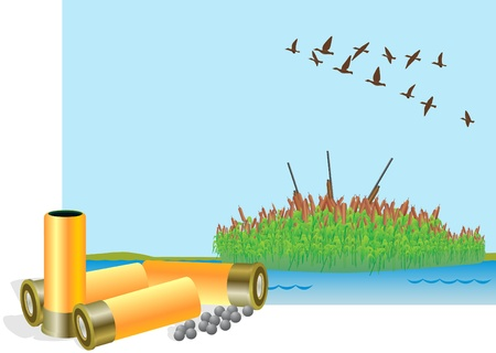 Hunting cartridges and charge fractions on the background of reeds and a flying flock of ducks. Иллюстрация