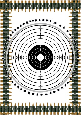 bullet hole: Target and the bullet holes in the background of machine-gun belts Illustration