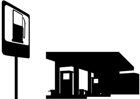 remplissage: Station de remplissage et un panneau de signalisation routi�re. Illustration en noir et blanc. Illustration