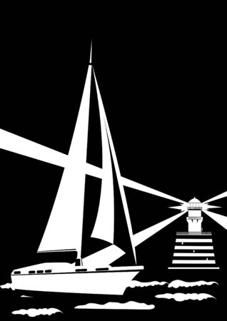lighthouse beam: Lighthouse and sailing yacht. Black and white illustration.